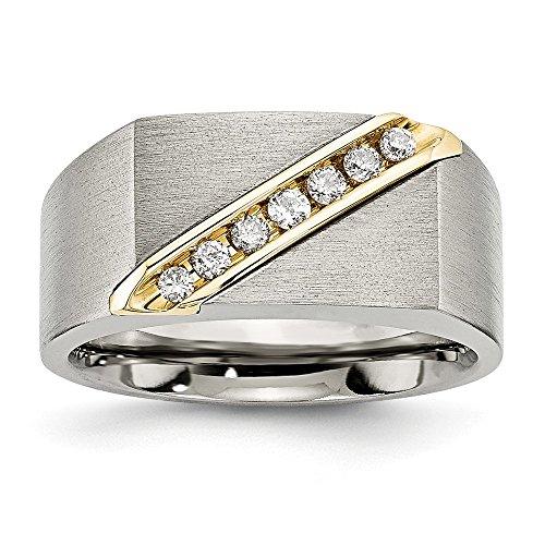 14k Mens Diamond Rings - Titanium/14K Brushed Diamond Ring Size 10