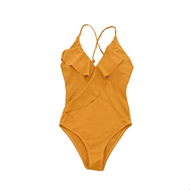 84c1d1646 Rainoop Women s Solid Sexy Off Shoulder Backless Ruffles One Piece Swimsuit  Beach Swimwear Bathing Suit Yellow