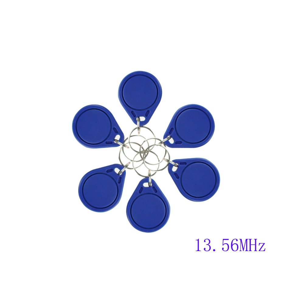 Blue OBO HANDS RFID ISO MF 1443A Classic 1K Card Only Read 13.56MHz Proximity Keyfobs NFC Tag Keychain Token 10pcs