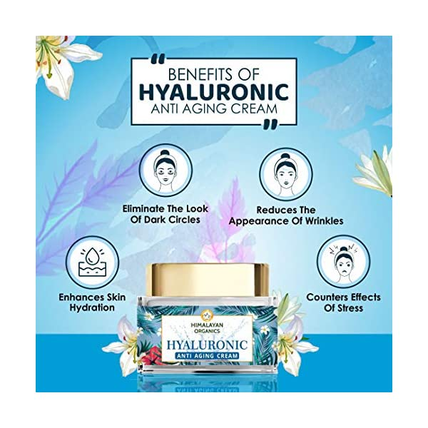 Himalayan Organics Hyaluronic Acid Anti Aging Cream, Anti Wrinkle, Skin Brightening - 50ml 2021 August POWERFUL INGREDIENT BLEND! A combination of ingredients touted for their anti-aging benefits like retinol and hyaluronic acid, Himalayan Organics Hyaluronic Acid skin whitening cream works to tighten your skin, help reduce the appearance of wrinkles, dilute the pigmentation, moisturize and help make your skin more radiant and fresh than ever! RETINOL & HYALURONIC ACID; A COMBINATION YOUR SKIN LOVES! Himalayan Organics Hyaluronic Cream with hyaluronic acid's properties, when combined with retinol has the ability to produce a stunning effect on tired, dull, lackluster skin. It helps to keep collagen synthesis up and retain skin moisture, helping your skin look hydrated and youthful! SUITABLE FOR ALL SKIN TYPES: Effective yet gentle enough for sensitive, mature, and aging skin types offering results you can see and feel. Within approximately 7-10 days skin may feel softer, appear smoother, look plumper more hydrated. With regular use, at 4-6 weeks some users reported a brighter looking glowing complexion along with skin that appears plumper and feels more supple. Individual results may vary depending upon oily or dry skin. It can be used both as a night cream and as a day c