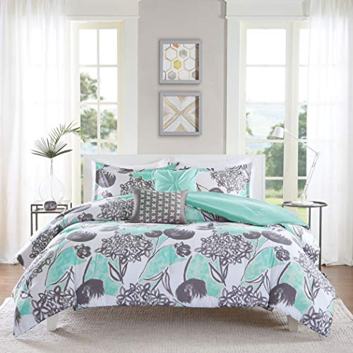 (4 Piece Girls Mint Grey Floral Theme Comforter Twin XL Set, Pretty All Over Abstract Wild Flower Bedding, Beautiful Girly Multi Flowers Pattern Reversible Solid Themed, Dark Gray Seafoam Green)