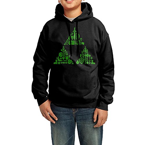 The Legend Of Zelda Triforce Heroes Costumes (GGDD Teenager Unisex Zelda Triforce Items Boys Mountain Climbing Cool Hoodie Hooded Sweatshirt Casual Style M Black)