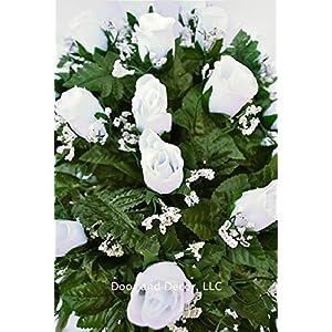 White rose cemetery saddle~Cemetery Arrangement~Graveside Decorations~Headstone Saddle~Saddle Arrangement~Sympathy Flowers~Grave decor~Cemetery Flower Service Subscription~cemetery saddle 4