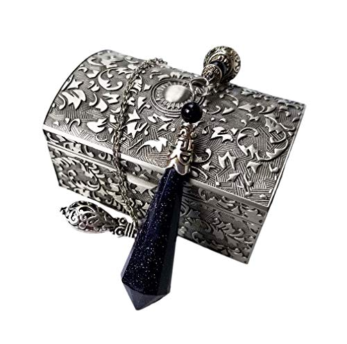 Spirit Hunter Blue Sandstone Therapy Healing Professional Dowsing Divination Pendulum - Reiki Chakra Balancing Multifaceted Pendant - with Vintage Zinc Alloy Jewelry Box. (Best Pendulum For Divination)