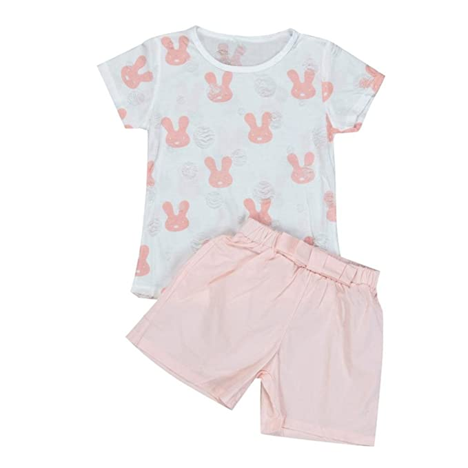 Kinder Baby Junge M/ädchen Flamingo Print Kurzarm Shirt Shorts Kurze Hose Sommer Kleidung Set Outfits
