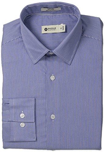Mini Point Collar Dress Shirt (Haggar Men's Mini Tattersal Check Point Collar Regular Fit Long Sleeve Dress Shirt, Navy, 18.5x34/35)