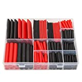 SwitchMe 198Pcs 3:1 Heat Shrink Tubing Double-wall Adhesive Lined Shrink Wrap Tubing Assortment Kit 7 Size 1'' 3/4'' 1/2'' 3/8'' 1/4'' 3/16'' 1/8'' Mix Black Red