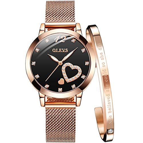 - OLEVS Women's Rose Gold Watches Heart Diamond Analog Quartz Japan Movement Girls Ladies Wristwatch Black Big Face Waterproof Mesh Belt Watch and Bracelet Set Valentines Day Gift