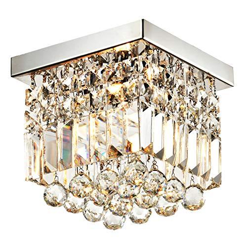 "Moooni Hallway Crystal Chandelier 1 - Light W8"" Mini Modern Square Flush Mount Ceiling Light Fixture"