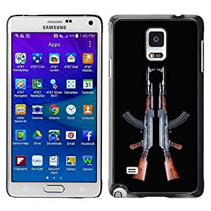 Beautiful-Diy 2 AK-47's Machine Assault Rifle Design case cover for q8RcIIW75Rk Samsung Galaxy Note 4