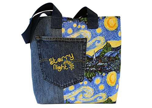 Tote Bag- Starry Night- Van Gogh – A recycled denim, embroidered, lined totebag. Eco-Friendly handbags
