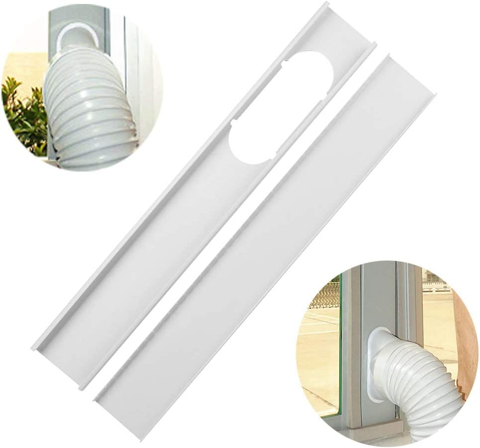 """Jeacent Portable Air Conditioner Window Seal Plates Kit Adjustable Length Panels for Exhaust Hose of 6/"""" Diameter Plastic AC Vent Kit for Sliding Glass Doors and Windows"""