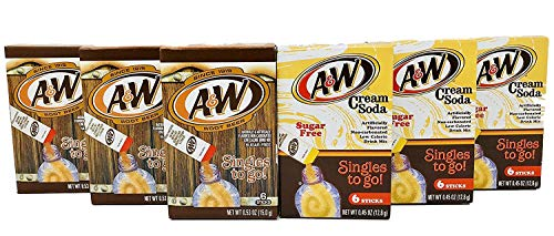 A&W Root Beer + A&W Cream Soda Drink Mix Singles to Go! Variety Pack Bundle - 3 Boxes w/6 pouches each of Each Flavor!