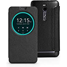 FanTEK ASUS ZenFone 2 ZE550ML ZE551ML 5.5-Inch Case - PU Leather Rounded Window Hard Back Shell Auto Sleep Wake Smart Cover (Black)