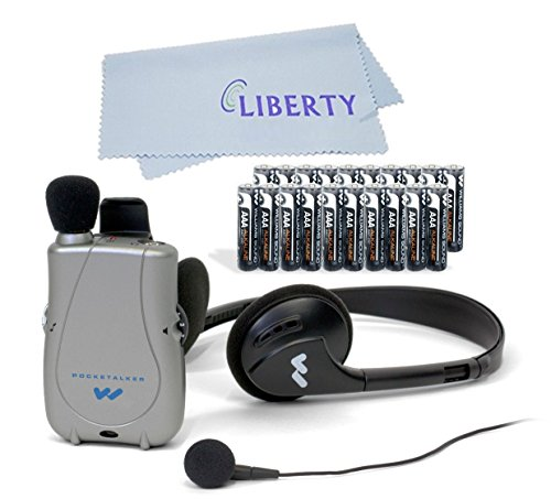 (Williams Sound PockeTalker Ultra Duo Sound Amplifier with Headphone & Earbud, Year Supply of Batteries & Liberty Microfiber Cloth)
