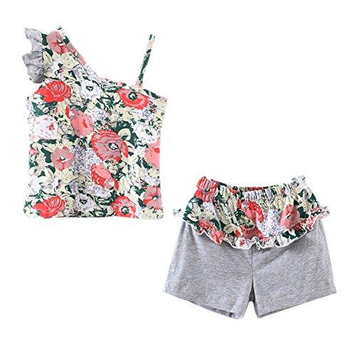 [LittleSpring Little Girls' Slim Shorts Set Flower Printing Size 6x Flower] (50 Outfits For Kids)