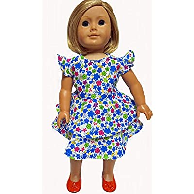Doll Clothes Superstore Size 4 Matching Girl and Doll Dresses with Lots of Flowers and Ruffles: Toys & Games