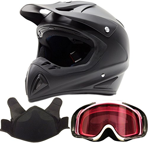 Adult Snocross Snowmobile Helmet & Goggle Combo - Matte Black, Pink (Large) -