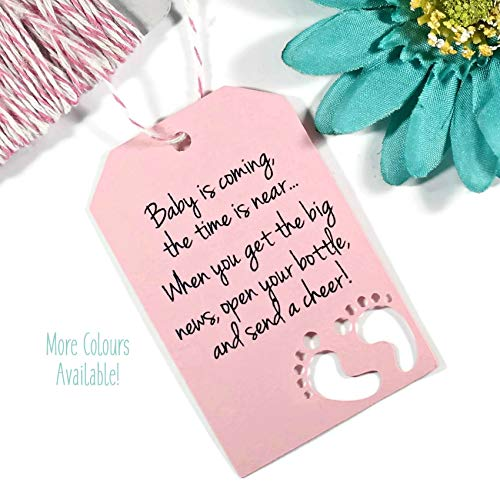 Baby is Coming Shower Favor Tags - Light Pink Baby Feet Tags (Set of 20)