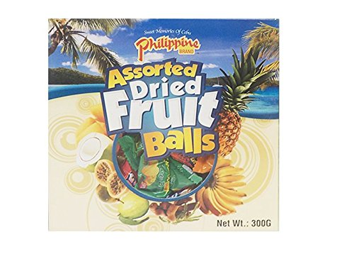 Philippine Brand Assorted Dried Fruit Balls Gift Box 300 g with 8 Flavors including Mango, Coconut, Guava, Pineapple