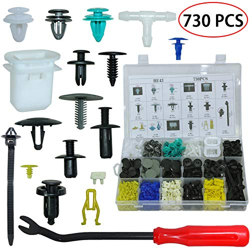(Auto Body Retainer Clips Door Trim Panel Clip Plastic Fasteners Push Rivets Kit 17 Kinds Most Popular Sizes 730PCS Bumper Fender Clips With 1 Fastener Remover For BMW Toyota VW Subaru and Volvo)