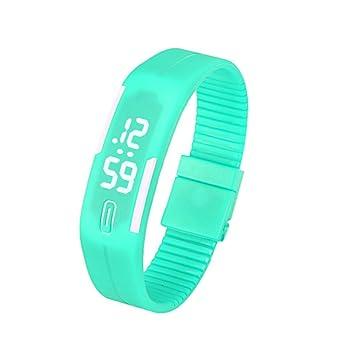 Reloj para hombre de goma LED para mujer Reloj deportivo unisex Fecha Pulsera Reloj digital (E): Amazon.es: Deportes y aire libre