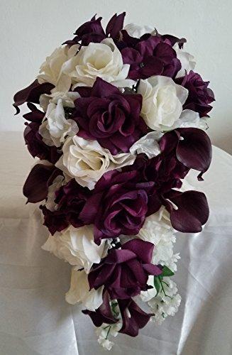 Eggplant Ivory Rose Calla Lily Cascading Bridal Wedding B...