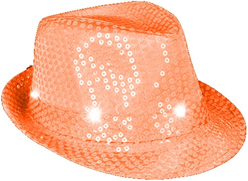 [Flashing Neon Orange Pimp Gangster Blues Brothers Fedora Hat Costume Accessory] (Blues Brothers Costume Hat)