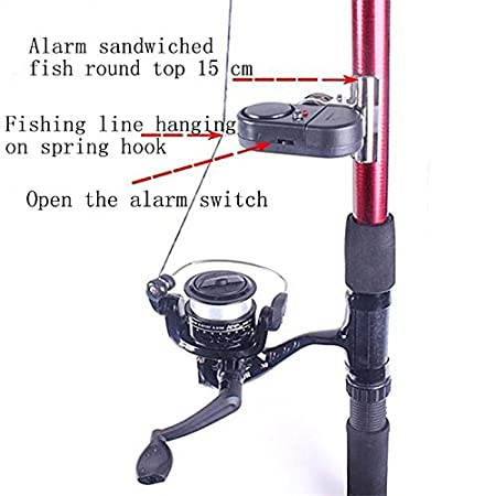 Quaanti 3-M Fishing Rod Electronic Sound Light Alarm Bell Waterproof Fishing Alarm Black