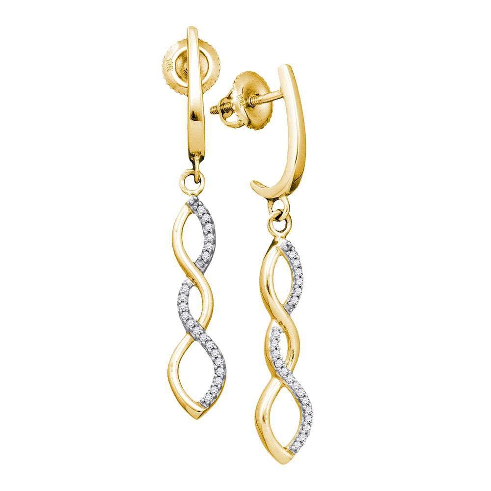 10KT Or jaune pour femme Diamant rond infini Boucles d'oreille pendantes 1/8carat au total
