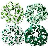 Clover Pattern Scrunchie Hair Ties, St. Patricks Day Irish Scrunchys, St Pattys Day Scrunchies, Green Clover Scrunchie