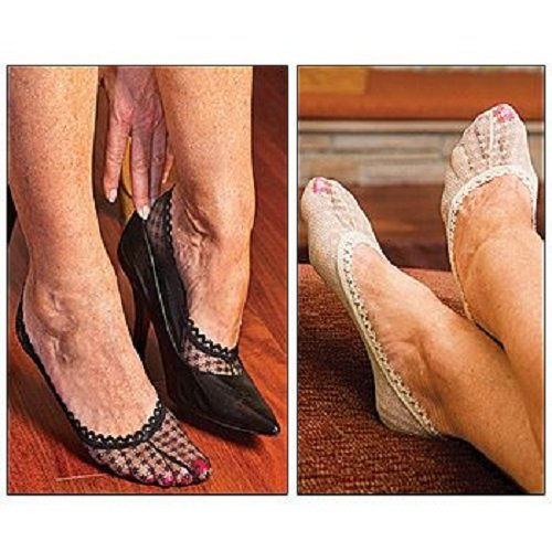 Lace Shoe Liners Includes 2 Pairs Of Each Color (black And Nude