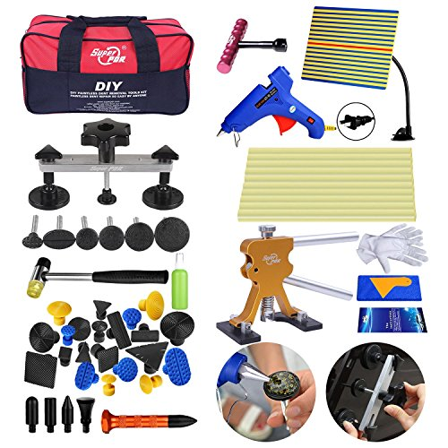 Line Board (AUTOPDR 53Pcs DIY Auto Body Paintless Dent Removal Tools Automotive Body Repair Tools with Line Board Dent Reflector Glue Gun Sticks PDR Tool Bag Dent Puller Tabs)