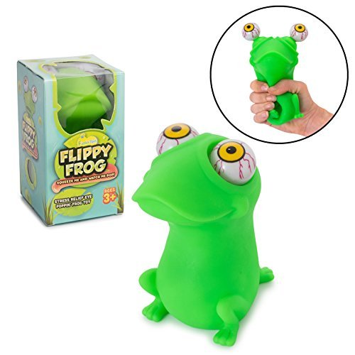 Squishy Eye Popping Frog By Funky Toys | Large Squeeze Toy | Stress Relief Game | Peepers Fidget Toy | Anxiety Reducer Sensory Play | Great Gift For Toddlers Boys & Girls | Suitable For Autism & ADHD -