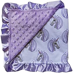 So Sydney Reversible Soft Textured Minky Dot Baby Infant Toddler Blanket With Satin Trim (Magical Unicorn Lavender)