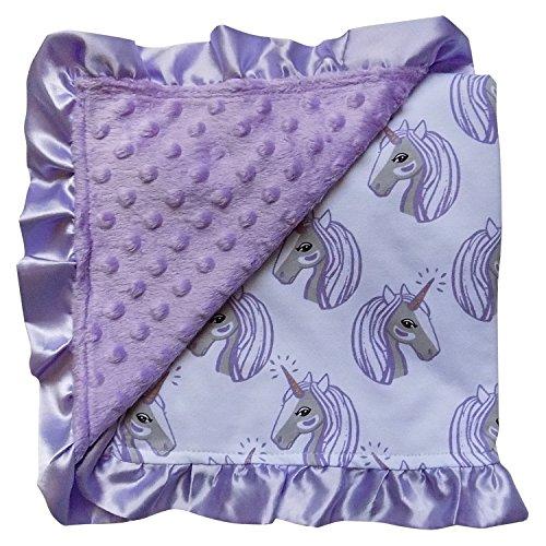 So Sydney Reversible Soft Textured Minky Dot Baby Infant Toddler Blanket With Satin Trim (Magical Unicorn Lavender)
