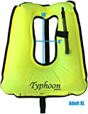 Typhoon Sports Snorkel Vest Hi-Viz, Locking Inflator Valve (Adult XL 180+lbs)