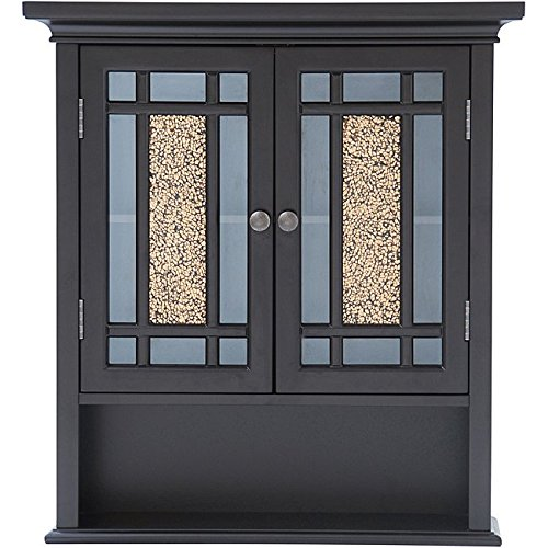 Dark Espresso 2-Door Wall Mounted Cabinet For Bathroom with 3 Shelves Made From Wood and Glass Traditional Style Included Cross Scented Candle Tart by GEN.