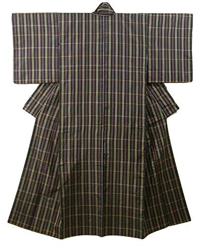 適切な悪名高い出口リサイクル 着物 紬  正絹 袷 格子模様 裄61.5cm 身丈154cm