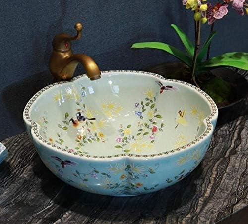 Yadianna 花の鳥の浴室カウンタートップ洗面クロークハンドペイント容器シンクのバスルームのシンクは、セラミックシンクラウンドをパターン化