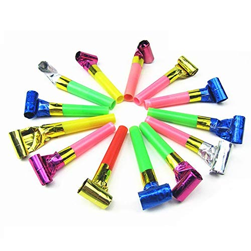 Party Whistles,(Pack of 36)Musical Blow Outs, Birthday Party Favors, New Years Party Noisemakers ,Party Blowouts Whistles, Party Blowout, Fun Party Favors(random Color) -