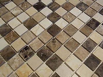 FLIESENTOPSHOP Naturstein Marmor Mosaik Fliesen Beige Braun Emperador  Poliert Dusche Bad Sauna