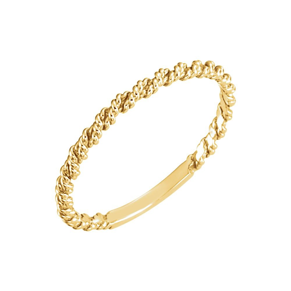 18K Yellow Gold 2mm Twisted Rope Band