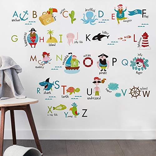 Kids Room Decor Pirate Alphabet Wall Decals for Kids Baby Room Removable Peel and Stick Educational Letters for Bedrooms Nursery Decor Art Decal