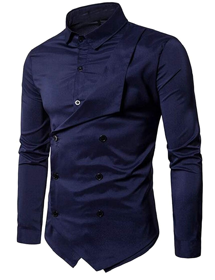 Cromoncent Mens Solid Fake Two Double-Breasted Irregular Lapel Neck Button Down Shirts