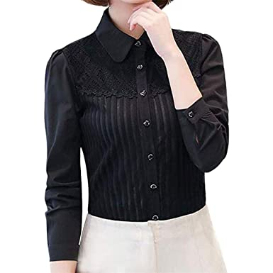 d4efb06d173c Womens Basic Long Sleeve Button Down Shirts Simple Pullover Stretch Formal  Casual Shirt(Black-