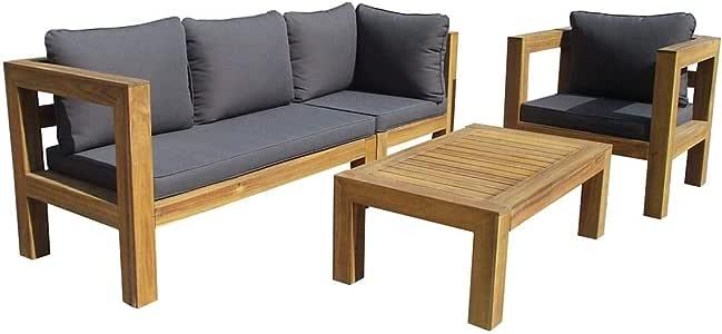 OUTLIV. Conjunto de muebles de jardín para exterior Seram-Cubic, de 4 piezas, de acacia/acolchado, para exterior, salón, jardín, terraza, balcón: Amazon.es: Jardín