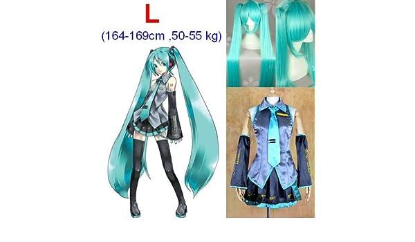 VOCALOID,Hatsune Miku Cosplay Traje+120cm peluca, tamaño L ...