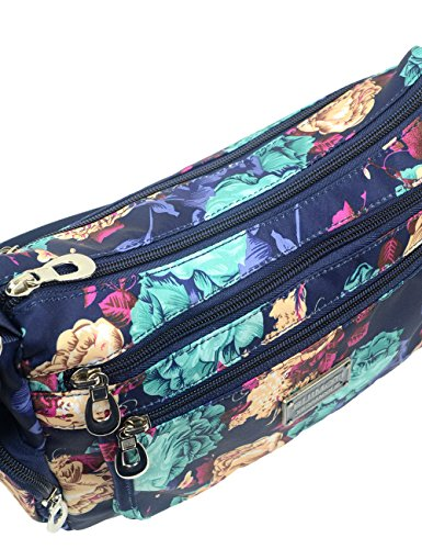 Flower Fashion Blue Nylon Women's Casual Waterproof Bag Blue Flower POPUCT Crossbody vaTdqxwv