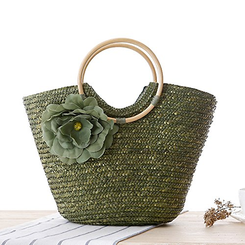 Messenger Beach Flower Handbag Straw Green Army Bag Summer Purse Tote Women's Woven Basket Shopper xXYqHFAwxC